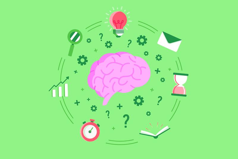 disegno di un cervello con mille cose da fare